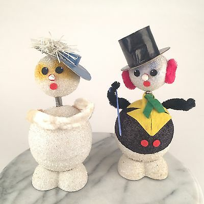 Adorable Vintage West Germany Snowman Nodder Bobble Head Couple Candy Containers