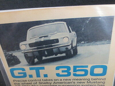 1965 1966 Shelby Gt 350 Mustang  Original Vintage Ad Excellent Condition