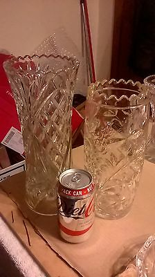 """2  LARGE CUT GLASS CRYSTAL VASES STUNNING 10"""" and 11"""""""