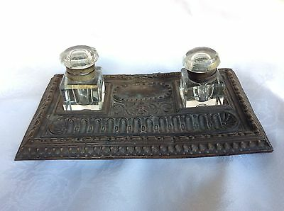 Unusual Brass Repousse Art Nouveau North Wind Face Crystal Inkwell Set as is