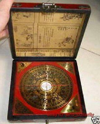 "Chinese "" Feng Shui"" compass with dragon phoenix wooden Leather box"