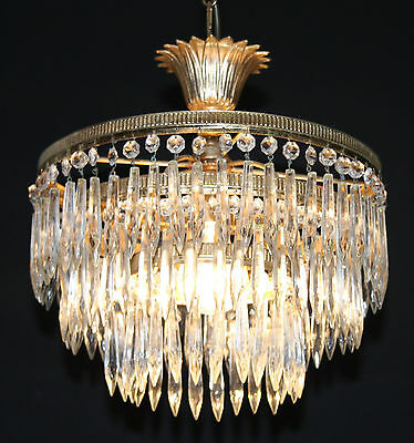 VINTAGE   FRENCH BRASS  CHANDELIER 3 TIER WATERFALL  CEILING LIGHT   (dc4)