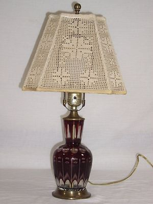 CZECH Cut to Clear CRANBERRY RUBY RED Coin Dot Glass Boudoir LAMP Vtg Lace Shade