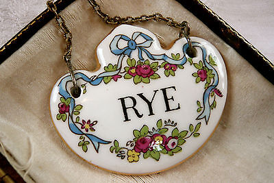 Antique Crown Staffordshire Porcelain Wine/ Decanter Label For Rye Bone China
