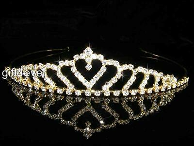 Bridesmaid Prom Flower Girl Wedding Queen Crystal Gold Plated Tiara T034G UK