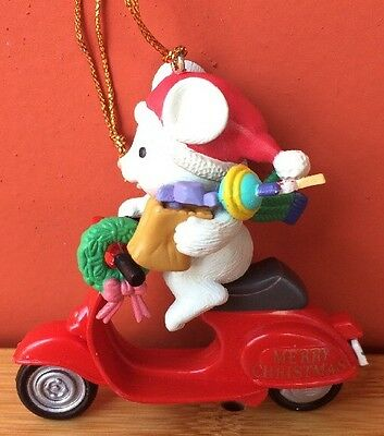 Mouse On Motorcycle Motor Scooter Christmas Ornament