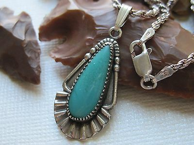 Vintage Bell Trading Turquoise & Sterling Silver Pendant on 925 Silver Necklace