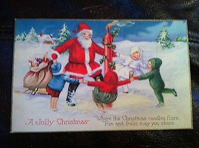 Vintage Postcard Santa Claus and Children Dancing around a candle Christmas 1135
