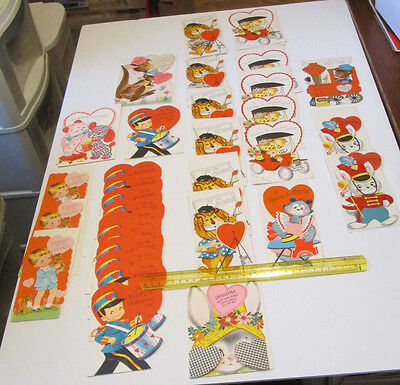 33 Vintage Old Stock Rust Craft Die Cut Children's Valentines Greeting Card Lot