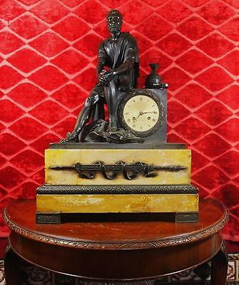 Huge Antique 1820's French Empire Classical Bronze & Sienna Marble Mantel clock