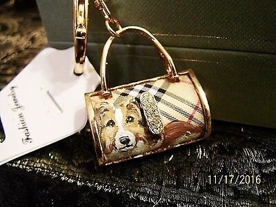 Sheltie hand painted  purse crystal key chain handbag charm