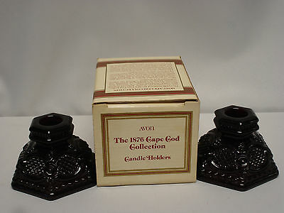 Avon 1876 Cape Cod Collection Candle Holders Ruby Glass In Original Box