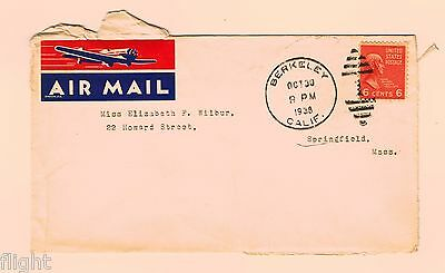 COVER 1938 Berkeley, CA to Springfield, MA airmail (?) 6 cent stamp - quite worn