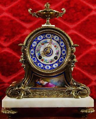 Antique 1855 French 8day gilt bronze & Sevres porcelain Mantle Clock by Vincenti