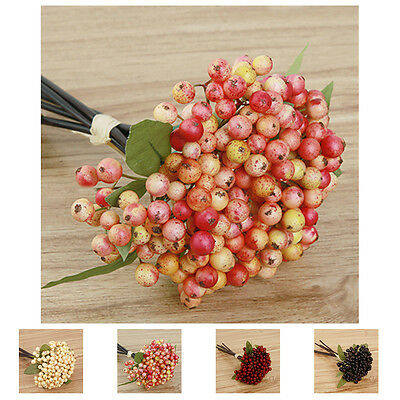 Artificial Berry Fake Leaf Flowers Bouquet Wedding Party Home Room Decor