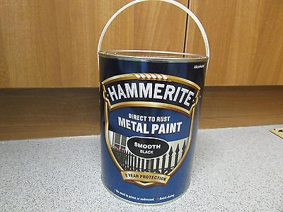 Hammerite Direct to Rust Smooth Black Finish Metal Paint 5L 5 litre