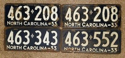 1933 North Carolina License Plates Lot of 4 with a Matching Pair - Vintage Tags