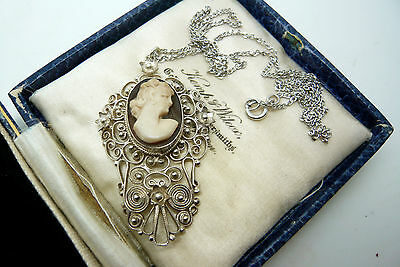 Vintage Jewellery Silver Filigree Real Cameo Shell Necklace