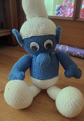 New Hand Knitted hand-made SMURF blue/white soft toy Gift or Mascot