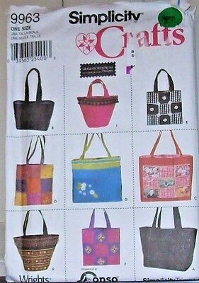 Simplicity Craft Pattern 9963 Heigel Designs 9 Tote Bags Opt Variety Shapes