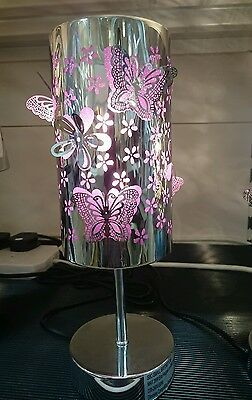 Purple Glittery Butterfly Girls/Childrens Bedside Touch Table Night Light/Lamp