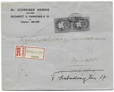hungary 16/3/1946 inflation local registered cover first day period9 RRR