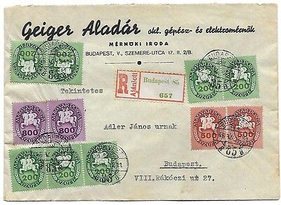 hungary 2/5/1946 inflation local registered cover period14 very beautiful RRR