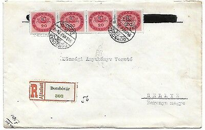 hungary 26/5/1946 inflation domestic reg cover last day period16 DOMBOVAR RRRR