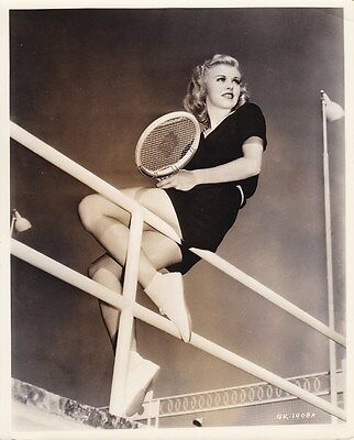 GINGER ROGERS Original CANDID Tennis Court Vintage 1937 MIEHLE RKO Leggy Photo