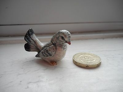 Dove - Pottery- Beautiful Detailed Miniature Grey - Female Fan Tail Dove, Pigeon