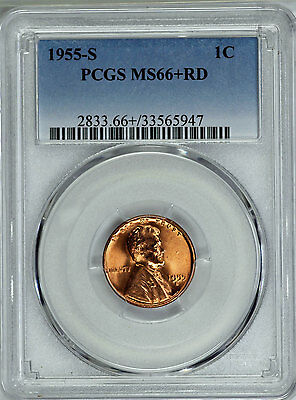1955-S PCGS MS66+RD Lincoln Cent