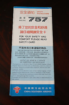 Safety Card China Southern Airlines Boeing 757