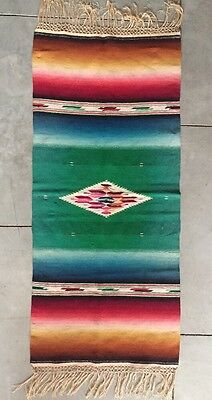 1930s Mexican Saltillo Serape Saddle Blanket Throw Silk Wool Knotted Fringe Nice