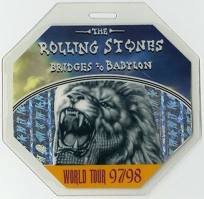 Rolling Stones authentic 1997-1998 tour Laminated Backstage Pass