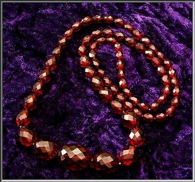 """Deco Faceted Cherry Amber Tested Bakelite Bead Necklace 49.8 gram 32"""" Long"""