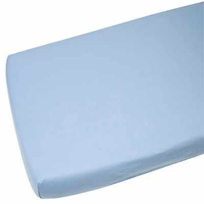1x Cot Bed 100% Cotton Jersey Fitted Sheet 140 x 70 cm Blue
