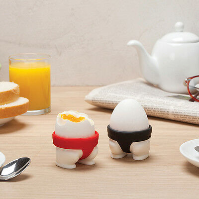 2 x Novelty Sumo Egg Cups Boiled Eggs Holder Black and Red Sumo Short Design