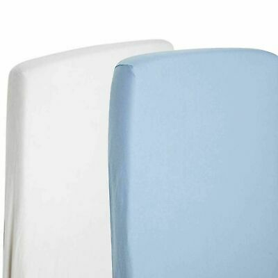 2x Toddler Bed / Junior Bed 100% Cotton Jersey Fitted Sheet 140x70cm White & Blu