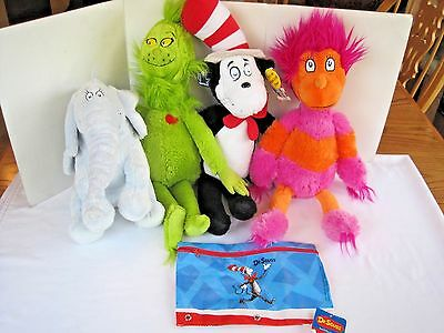 Kohls Cares For Kids Dr. Suess GRINCH Animal Plush Lot of 4 NEW Talking Cat