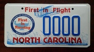 """North Carolina """"FIRST IN NURSING"""" Graphic License Plate SAMPLE Mint!"""