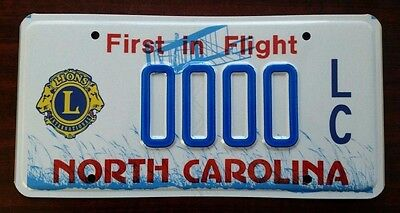 LIONS CLUB  North Carolina NC License Plate Vintage Specialty Graphic NOS MINT!