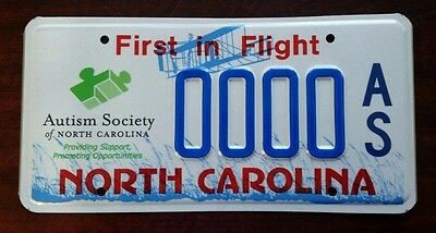 AUTISM SOCIETY North Carolina NC License Plate Vintage Specialty Graphic MINT!