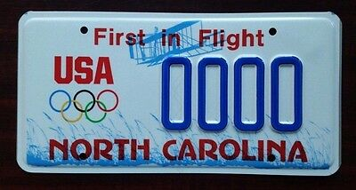 """North Carolina USA """"Olympic Games"""" Graphic License Plate SAMPLE Mint!"""