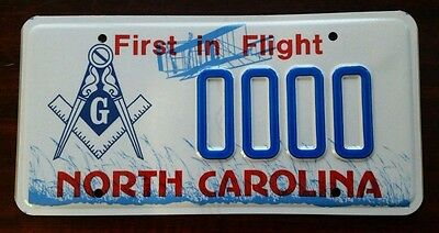 MASONIC TEMPLE  North Carolina NC License Plate Vintage Specialty Graphic MINT!