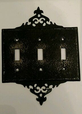 Vintage 1930-1940s William Spencer Cast Aluminum Gothic Switch Plate Cover-Black