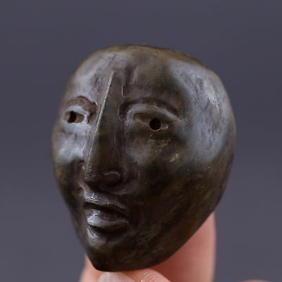 Small Mayan Stone Face Mask/Maskette Pendant-Antique Pre Columbian Figure-Olmec