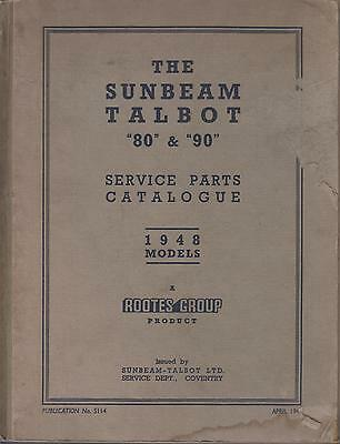 Sunbeam Talbot 80 & 90 Mk1 Sports Saloon & D.h.coupe Factory Parts Catalogue