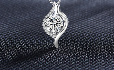 Xmas 925 Sterling Silver Heart Zircon Pendant Necklace Chain Jewellery Lady Gift