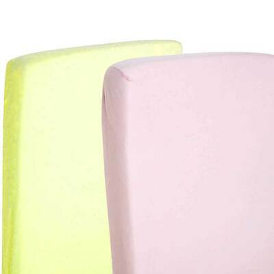 2x Cot Bed 100% Cotton Jersey Fitted Sheet 140 x 70 cm Lemon & Pink