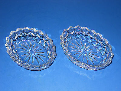 """Fostoria American Cube Clear Oval Bowl with Rays (COV) - 41/2"""" x 3 1/4"""" SET OF 2"""